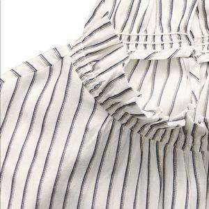 Banana Republic Metallic Stripe Ruffle-Neck Top